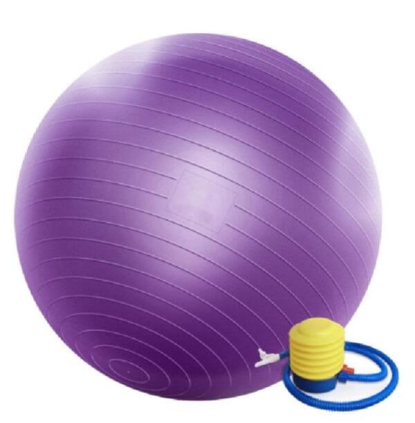 توپ تناسب اندام مدل GYM BALL 55 قطر 55 سانتی متر به همراه پمپ هوا و 2 عدد دمبل روکش دار 0.5 KG